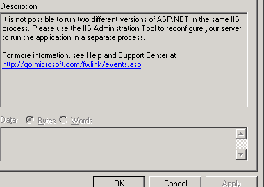 event notice that asp.net 4.0 application cannnot run together with other framework application in same pool